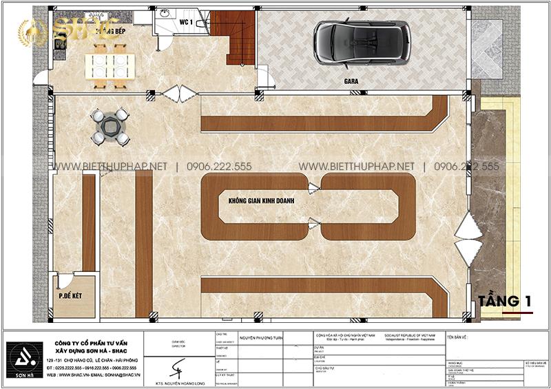 Mặt bằng công năng tầng 1 biệt thự tân cổ điển kết hợp kinh doanh tại Hải Phòng