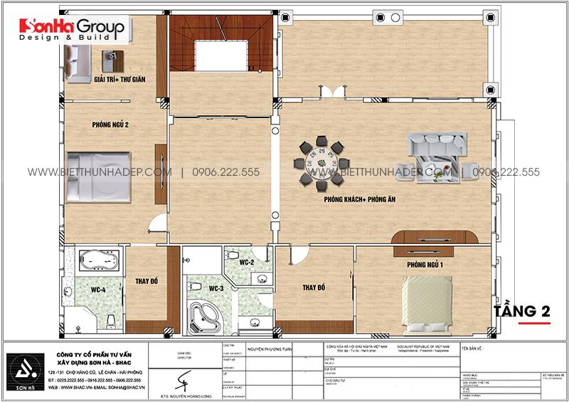 Phương án bố trí công năng tầng 2 nhà biệt thự tân cổ điển mặt tiền 15m dài 20m tại Hải Phòng