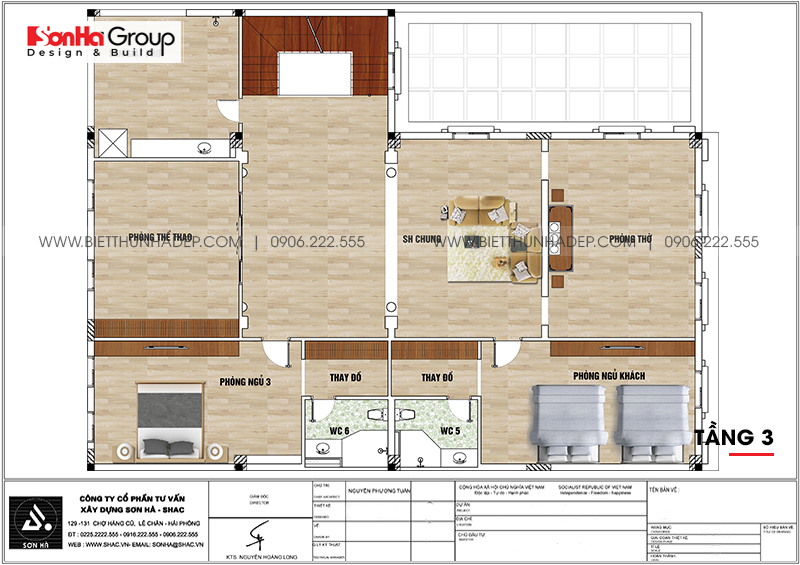 Phương án bố trí công năng tầng 3 nhà biệt thự tân cổ điển mặt tiền 15m dài 20m tại Hải Phòng