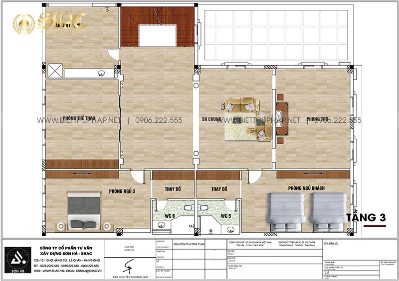 Mặt bằng công năng tầng 3 biệt thự tân cổ điển kết hợp kinh doanh tại Hải Phòng