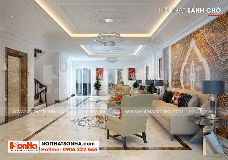 Mẫu nội thất sảnh chờ có thiết kế mang phong cách tân cổ điển chủ đạo