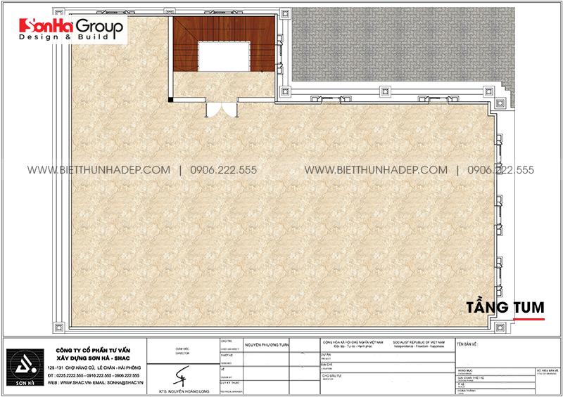Phương án bố trí công năng tầng tum nhà biệt thự tân cổ điển mặt tiền 15m dài 20m tại Hải Phòng