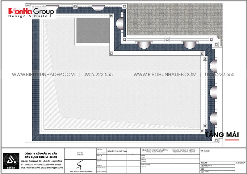 Phương án bố trí công năng tầng mái nhà biệt thự tân cổ điển mặt tiền 15m dài 20m tại Hải Phòng