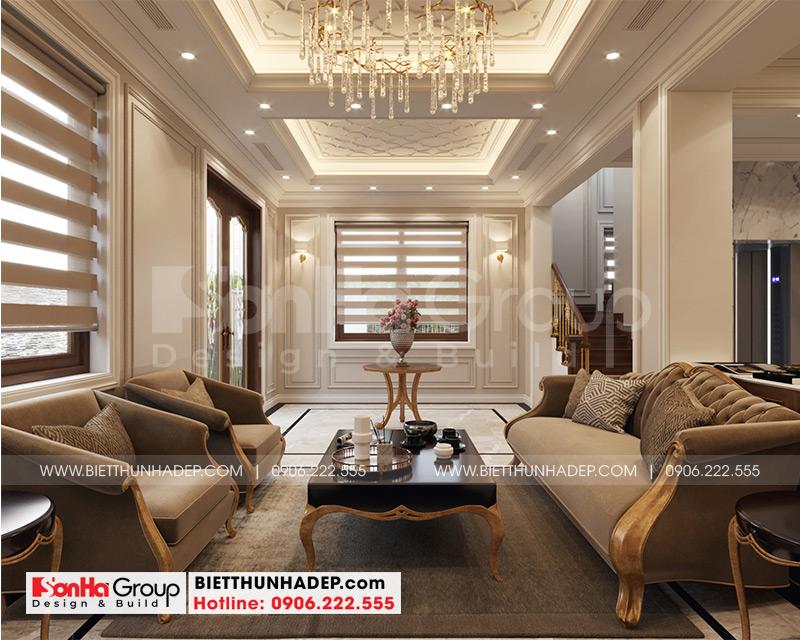 Thiết kế và thi công nội thất phòng khách tân cổ điển đơn giản mà đầy tinh tế dành cho biệt thự 4 tầng cao cấp