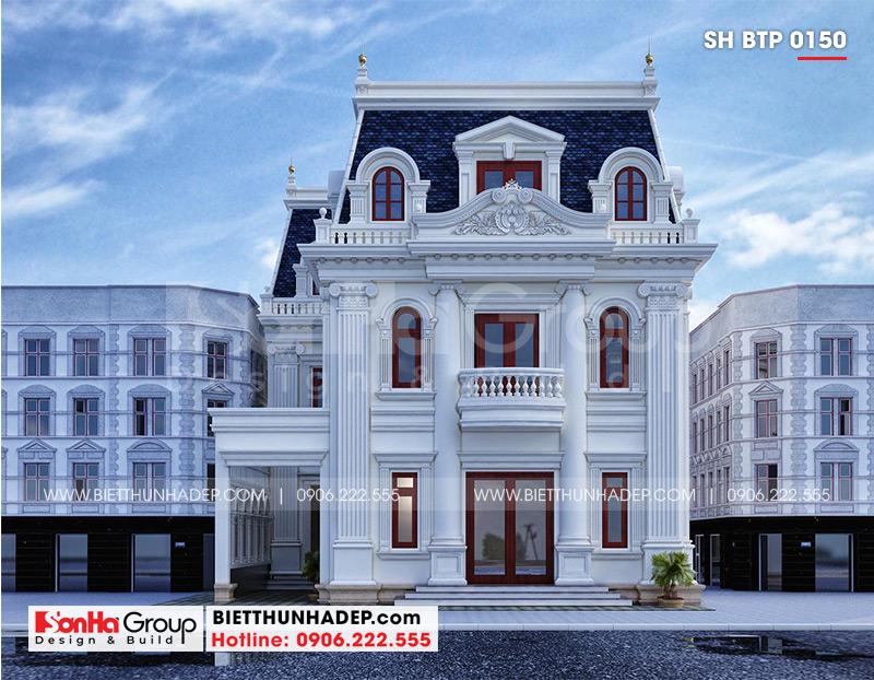 Cận cảnh kiến trúc mặt tiền 12m của ngôi biệt thự phong cách tân cổ điển tại An Giang