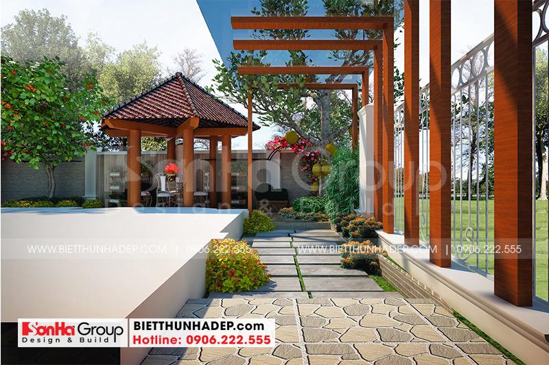 Thiết kế tiểu cảnh sân vườn biệt thự tân cổ điển tại Quảng Ninh