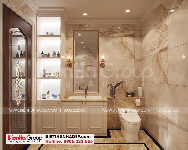 Mẫu thiết kế nội thất phòng tắm và vệ sinh tiện nghi trong phòng ngủ biệt thự