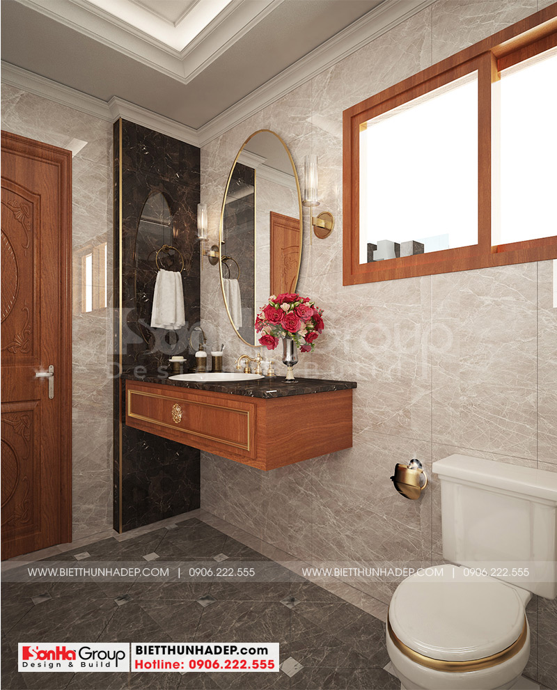 Nội thất phòng tắm, vệ sinh trong mỗi phòng ngủ của biệt thự tân cổ điển