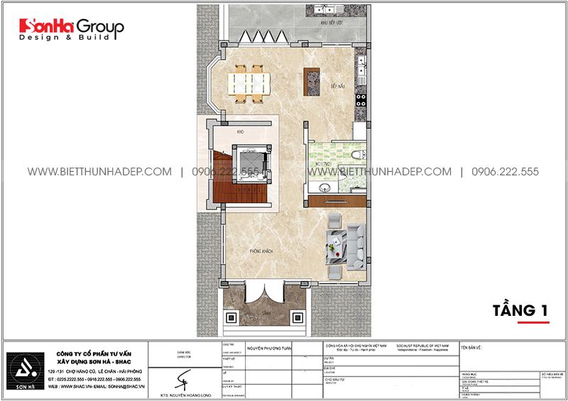 Bản vẽ công năng tầng 1 biệt thự tân cổ điển 7,55m x 13,97m tại Quảng Ninh