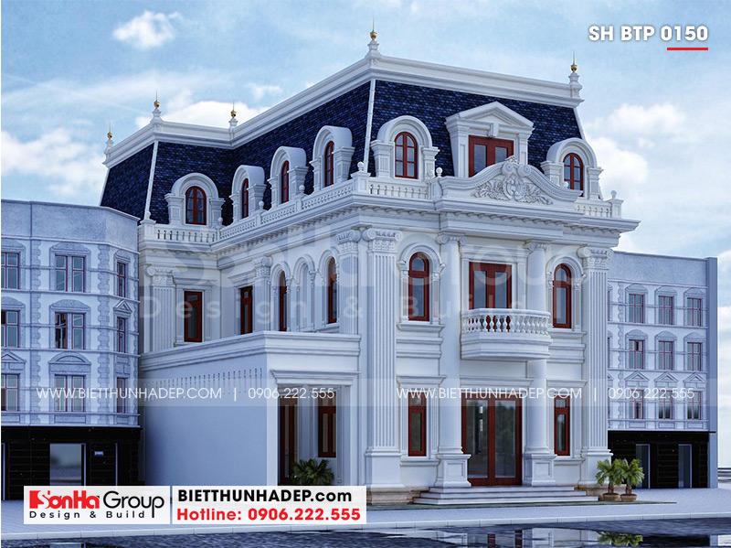 Phối cảnh kiến trúc biệt thự đẹp 3 tầng phong cách tân cổ điển kết hợp kinh doanh