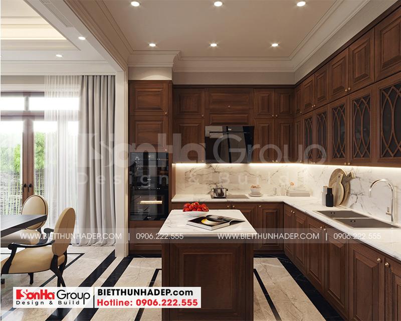 Không gian phòng ăn liên thông phòng khách bố trí rộng, thoáng với nội thất đồng bộ từ màu sắc đến kiểu dáng