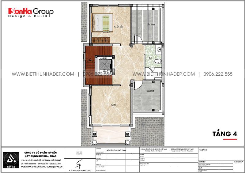Bản vẽ công năng tầng 4 biệt thự tân cổ điển 7,55m x 13,97m tại Quảng Ninh