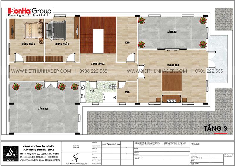 Bản vẽ công năng tầng 3 biệt thự tân cổ điển kết hợp kinh doanh tại An Giang