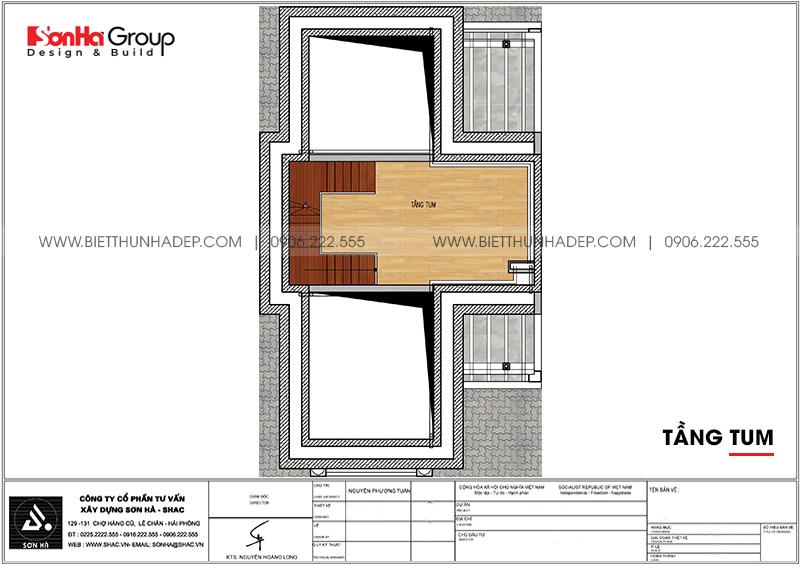 Bản vẽ công năng tầng tum biệt thự tân cổ điển 7,55m x 13,97m tại Quảng Ninh