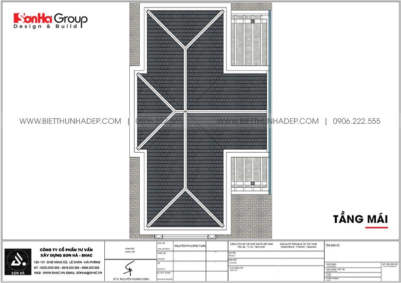Bản vẽ công năng tầng mái biệt thự tân cổ điển 7,55m x 13,97m tại Quảng Ninh