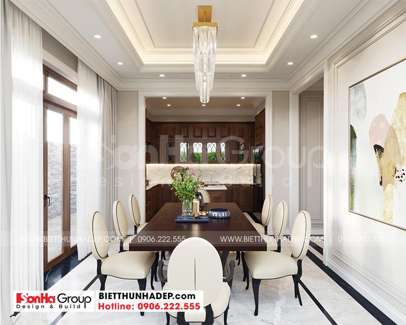 Nội thất phòng ăn mang phong cách tân cổ điển đẹp, hoàn mỹ hợp phong thủy khiến chủ nhân hài lòng cao