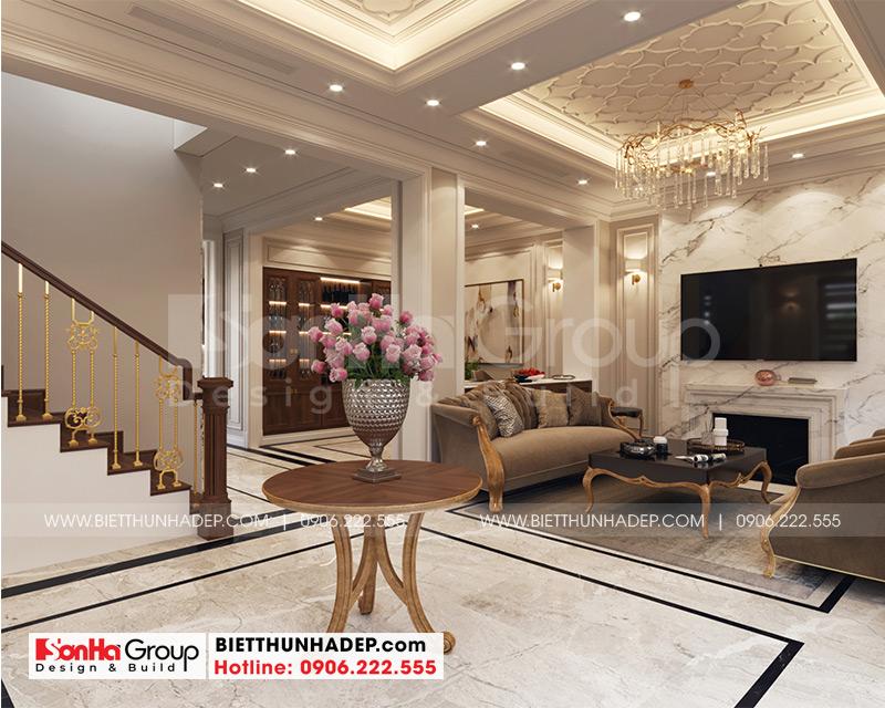 Không gian nội thất sảnh thang tầng 1 biệt thự tân cổ điển tại Quảng Ninh