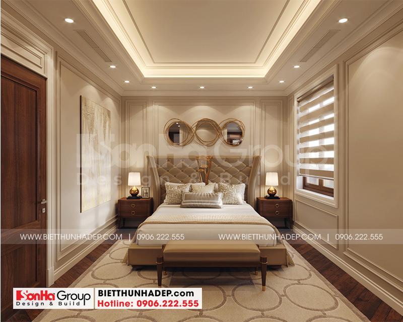 Không gian phòng ngủ master tân cổ điển đẹp dành cho vợ chồng gia chủ sinh sống vô cùng tiện nghi