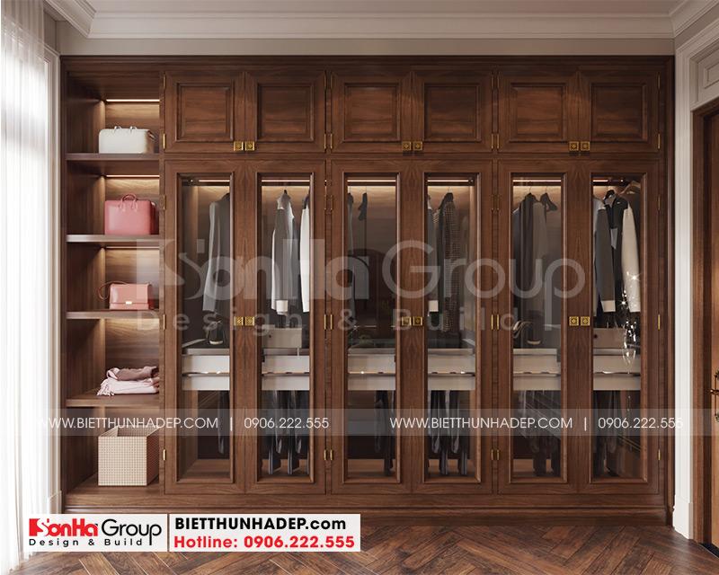 Không gian nội thất khu thay đồ bên phong phòng ngủ biệt thự phong cách tân cổ điển