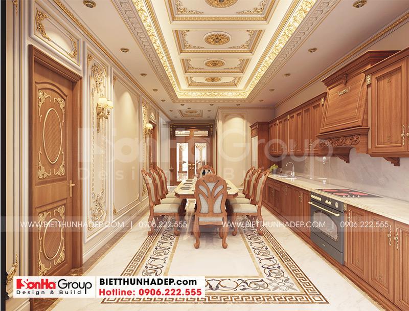 Thiết kế phòng ăn với nội thất tân cổ điển trong không gian ấm cúng, sang trọng