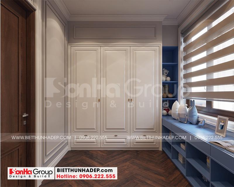 Thiết kế không gian phòng thay rộng rãi trong căn phòng ngủ biệt thự