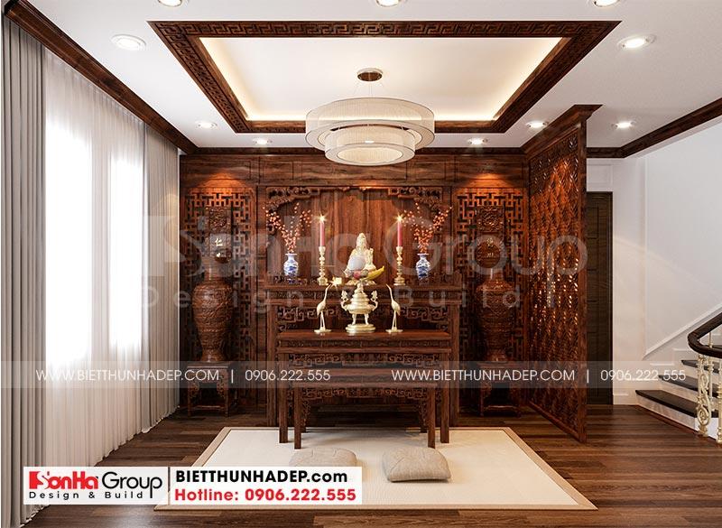 Mẫu thiết kế phòng thờ biệt thự Vinhomes Imperia đẹp với bố trí hợp lý khoa học, chuẩn phong thủy