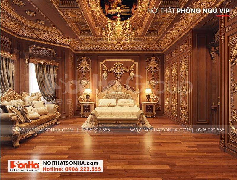 Không gian phòng ngủ đẳng cấp với màu sắc trang trí và nội thất được lựa chọn đều vô cùng đẳng cấp