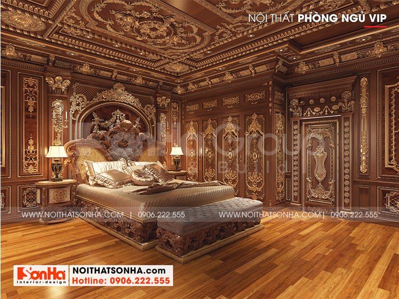 Phong cách vương giả thể hiện rõ nét qua từng chi tiết nội thất của căn phòng ngủ biệt thự xa hoa này