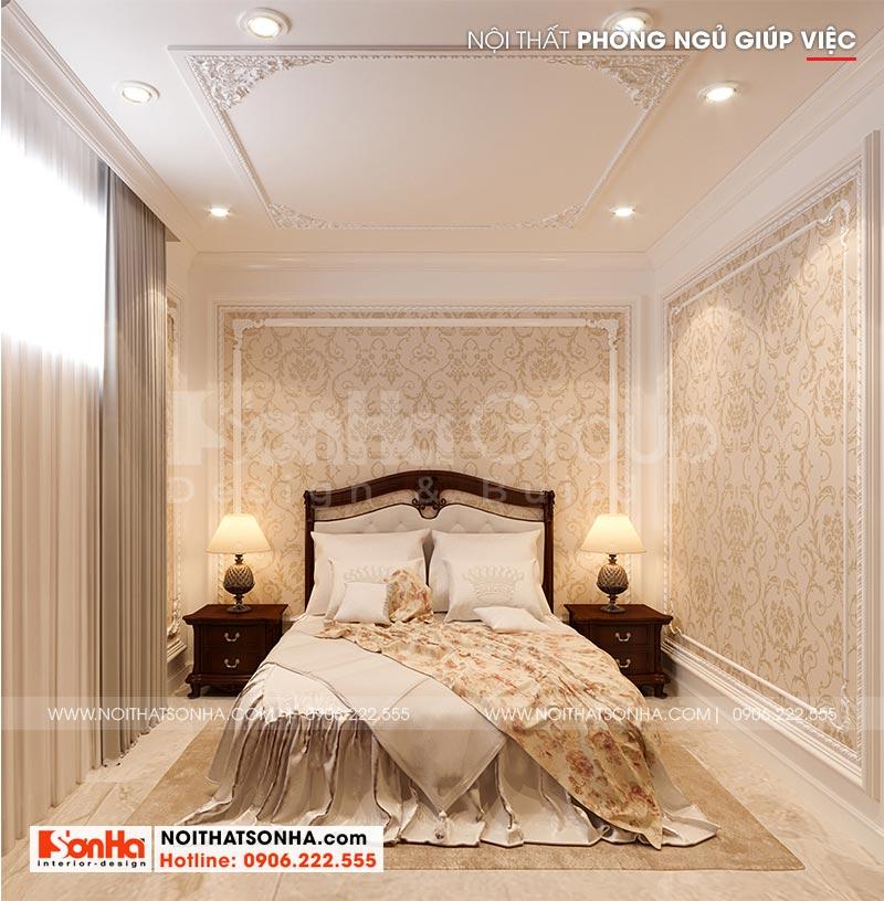Còn đây là phương án thiết kế nội thất phòng ngủ giúp việc biệt thự lâu đài tại Hà Nội