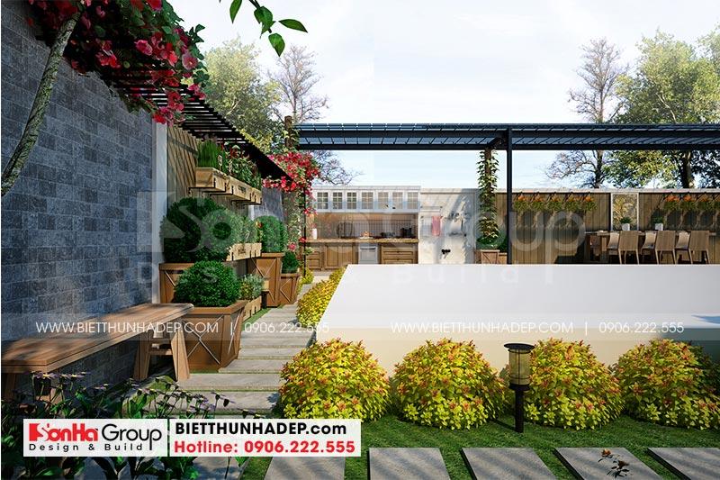 Góc thiết kế sân vườn của biệt thự phong cách tân cổ điển Vinhomes Imperia