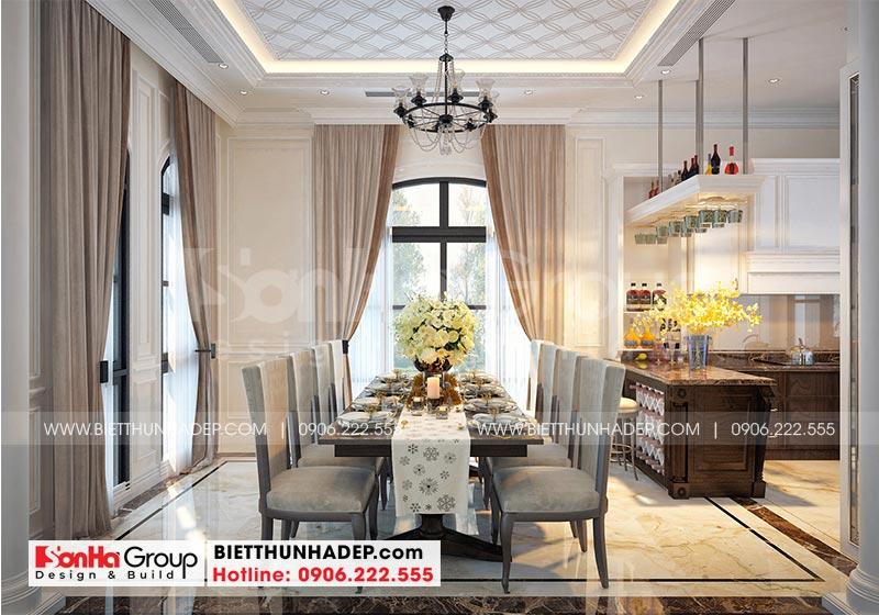 Trang trí nội thất phòng ăn đẹp, kiểu dáng đơn giản nhưng sang trọng