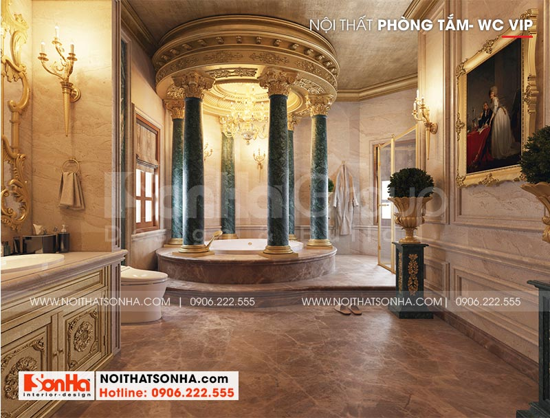 Thiết kế nội thất phòng tắm với trang thiết bị hiện đại mang đến không gian thư thái cho gia chủ