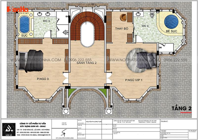 Bản vẽ chi tiết công năng tầng 2 biệt thự lâu đài cổ điển tại Hà Nội
