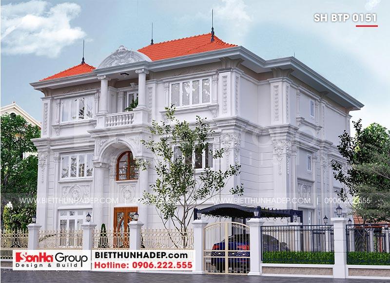 Một góc view khác cho thấy sự tinh tế của kiến trúc biệt thự 3 tầng tân cổ điển tại Hà Nội