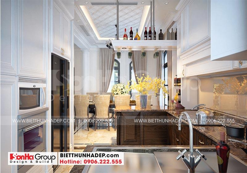 Thiết kế phòng bếp ăn biệt thự phong cách tân cổ điển đẹp với bố trí tủ bếp hợp lý