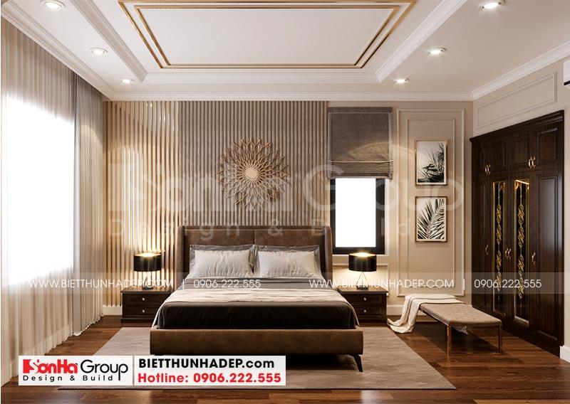 Căn phòng ngủ được thiết kế mang hơi hướng tân cổ điển chủ đạo với màu sắc nhẹ nhàng