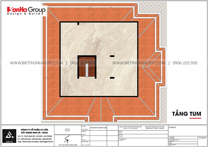 Công năng tầng tum biệt thự tân cổ điển 2 mặt tiền đẹp và sang tại Hà Nội