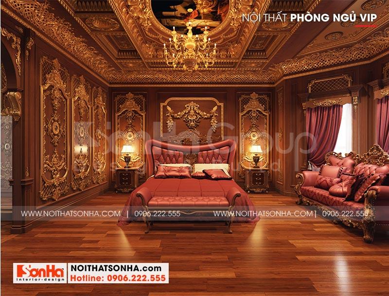 Phương án thiết kế phòng ngủ tiện nghi với nội thất cao cấp của biệt thự lâu đài