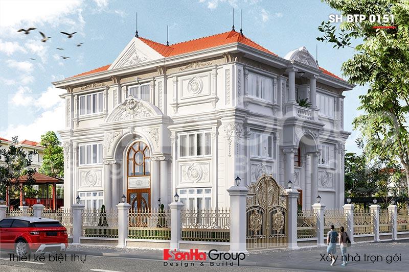 BÌA kiến trúc biệt thự 3 tầng 2 mặt tiền kiểu tân cổ điển tại hà nội sh btp 0151