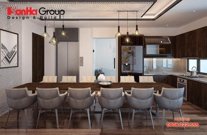 Căn phòng bếp biệt thự hiện đại với cách phối màu độc đáo thể hiện cá tính của chủ đầu tư