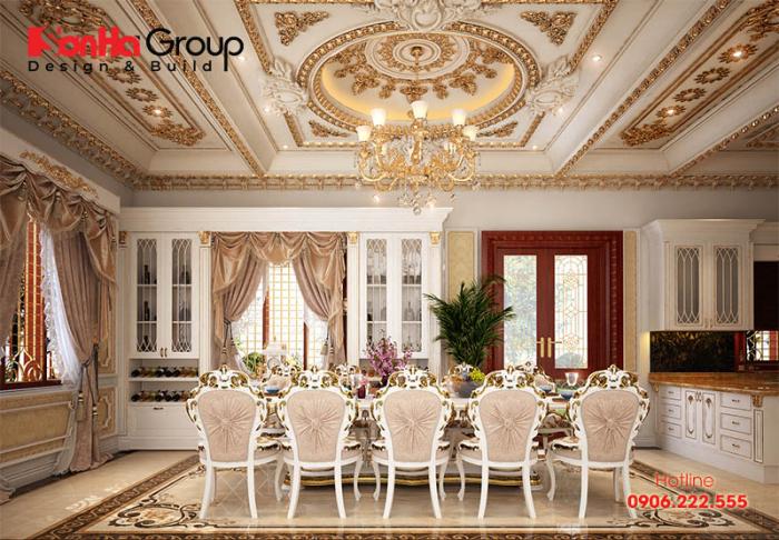 Phòng bếp ăn rộng và thoáng trong ngôi biệt thự tân cổ điển sang trọng cho chất lượng cuộc sống của gia đình chủ đầu tư thêm phần hoàn hảo