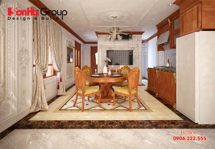 Thêm một ý tưởng sử dụng nội thất gỗ cho không gian phòng bếp tân cổ điển