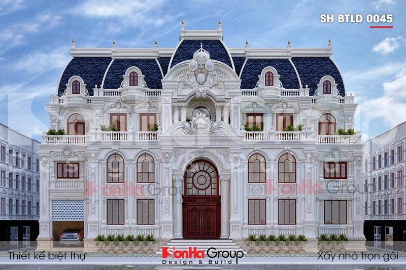 BÌA kiến trúc biệt thự lâu đài 3 tầng 1 tum mặt tiền 25m tại vĩnh phúc sh btld 0045
