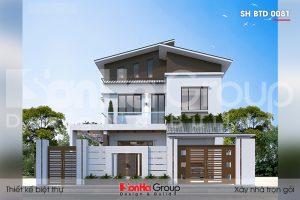 Mẫu thiết kế biệt thự đẹp rộng 10,3m ấn tượng với kiến trúc hiện đại tại Ninh Bình – SH BTD 0081