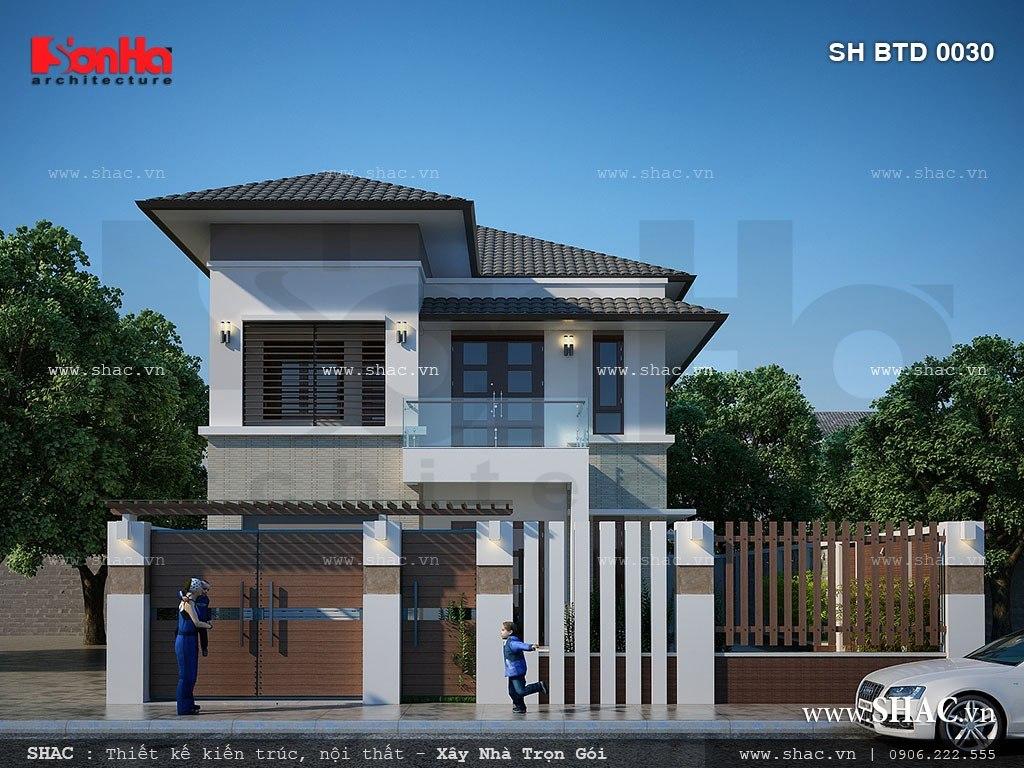 Thiết kế biệt thự mini hiện đại 2 tầng