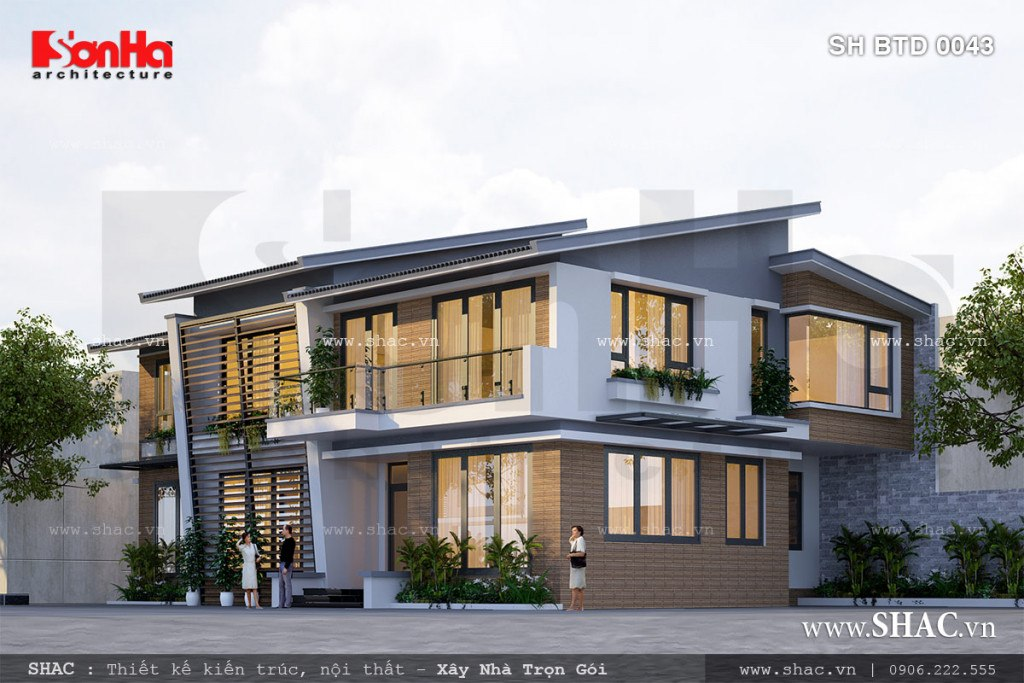 thiết kế biệt thự hiện đại 2 tầng