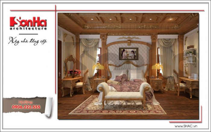 Thiết kế nội thất phòng ngủ biệt thự cổ điển tại Thái Bình