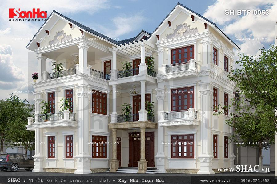 Biệt thự kiến trúc Pháp 3 tầng mái ngói xanh đên BTP 0053