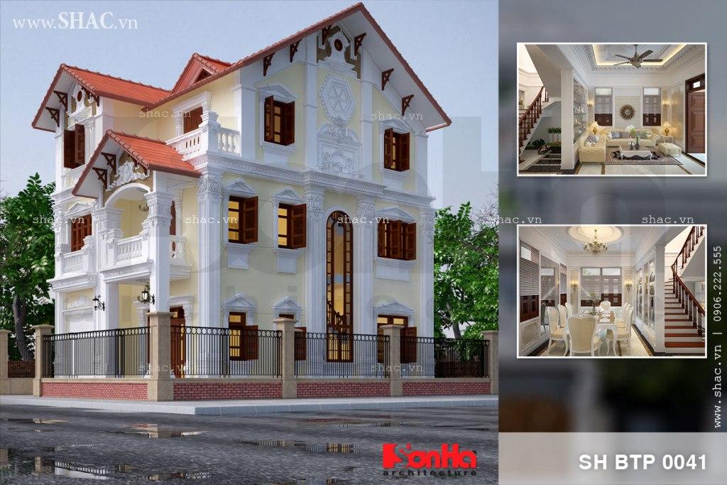 Biệt thự phố 3 tầng tân cổ điển kiểu Pháp tại Quảng Ninh sh btp 0041