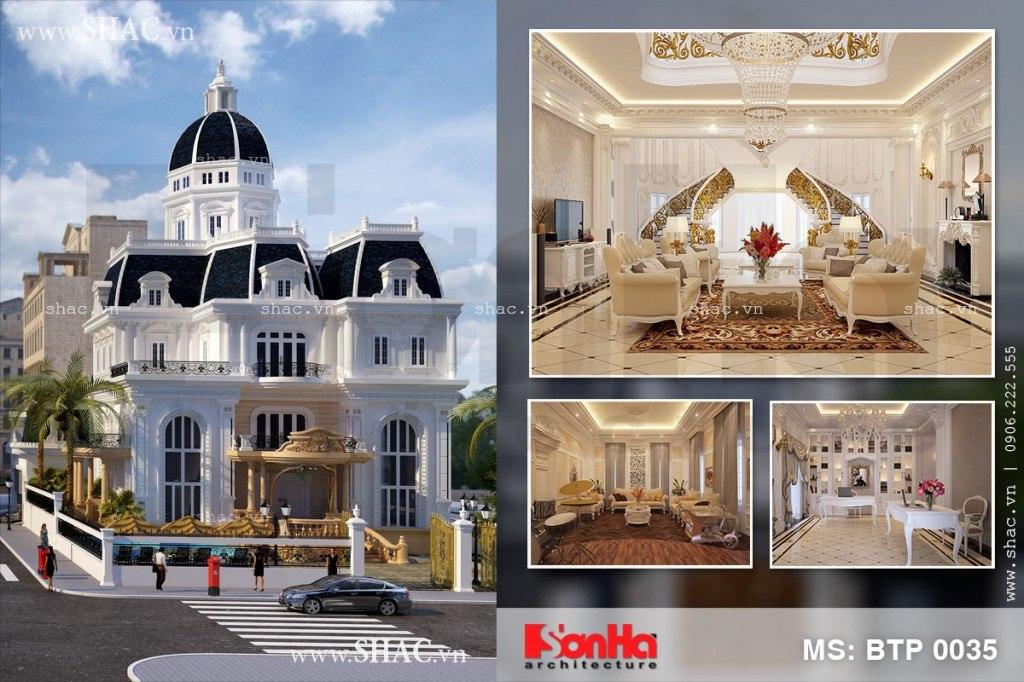 Hồ sơ thiết kế kiến trúc biệt thự Pháp tại Khánh Hòa BTP 0035